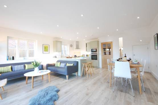 The open plan living area at Crabapple Cottage in Southwold